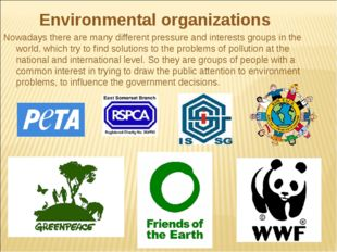 Environmental organizations Nowadays there are many different pressure and i