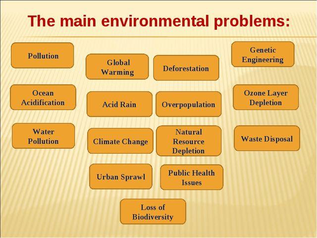 The main environmental problems: Pollution Global Warming Acid Rain Natural R...