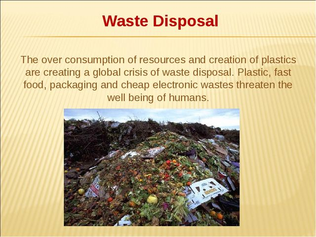 Waste Disposal The over consumption of resources and creation of plastics ar...