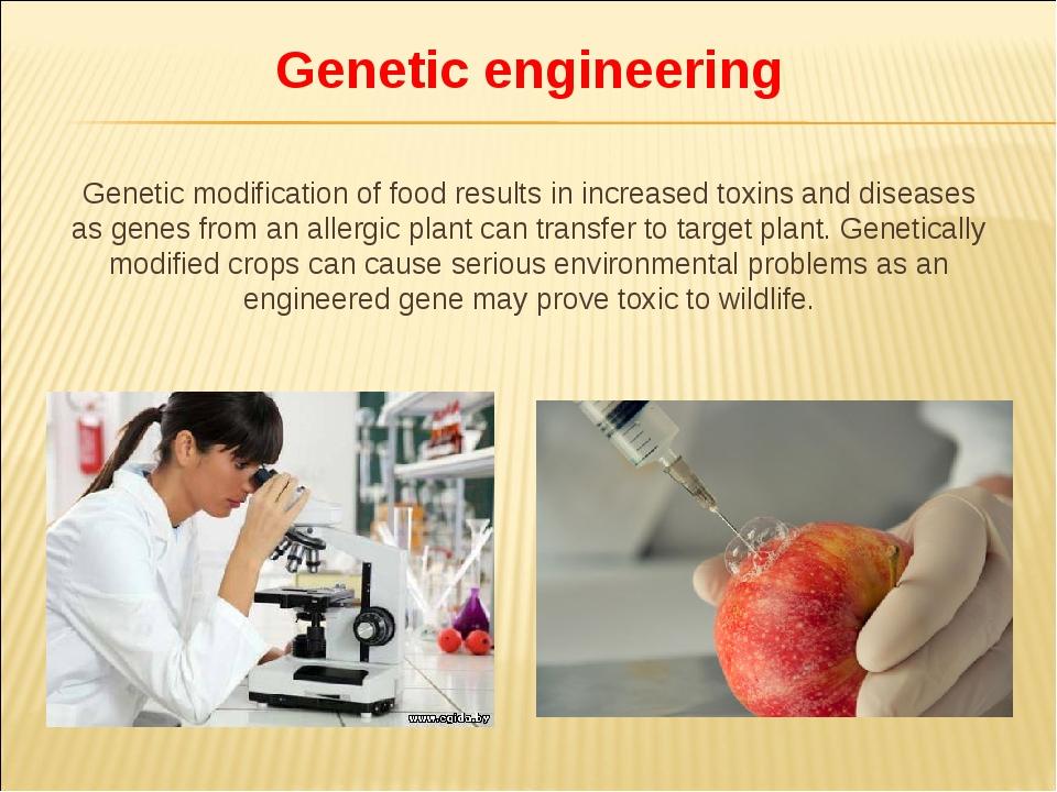 Genetic engineering Genetic modification of food results in increased toxins...