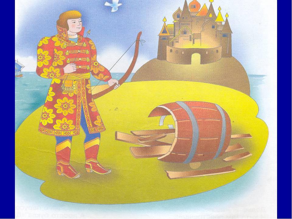 Царицу с сыном наказать решили И в бочке плавать по волнам пустили. Но вырос...