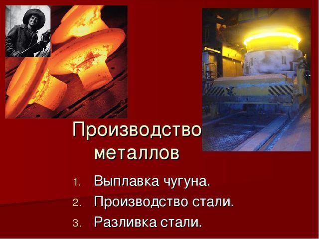 Производство металлов Выплавка чугуна. Производство стали. Разливка стали.