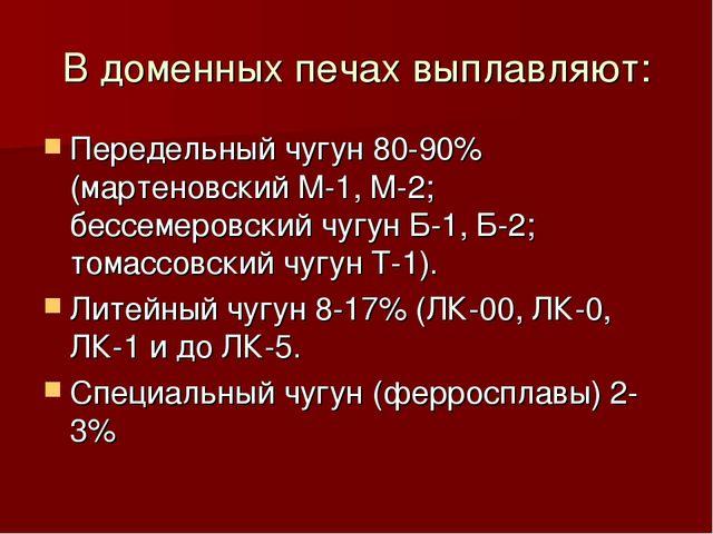 В доменных печах выплавляют: Передельный чугун 80-90% (мартеновский М-1, М-2;...