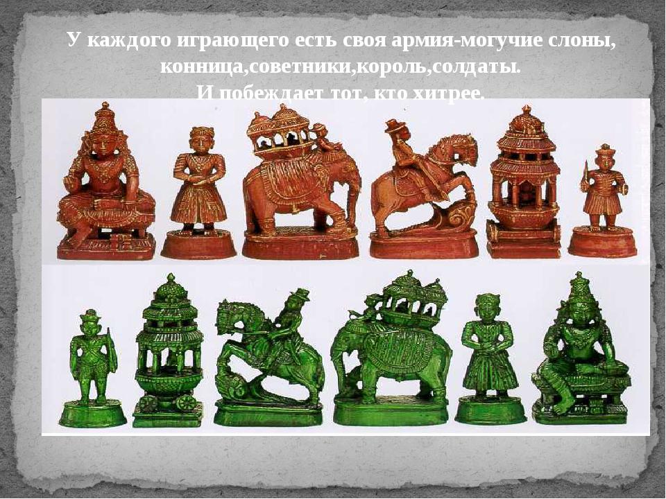 У каждого играющего есть своя армия-могучие слоны, конница,советники,король,...
