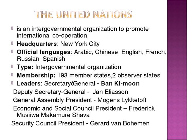 is an intergovernmental organization to promote international co-operation. H...