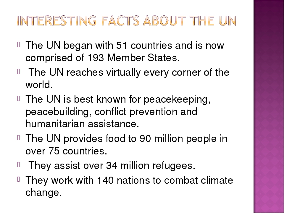 The UN began with 51 countries and is now comprised of 193 Member States. The...