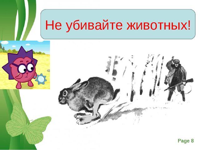 Не убивайте животных! Free Powerpoint Templates Page *