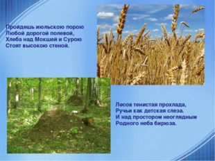 Пройдешь июльскою порою Любой дорогой полевой, Хлеба над Мокшей и Сурою Стоят