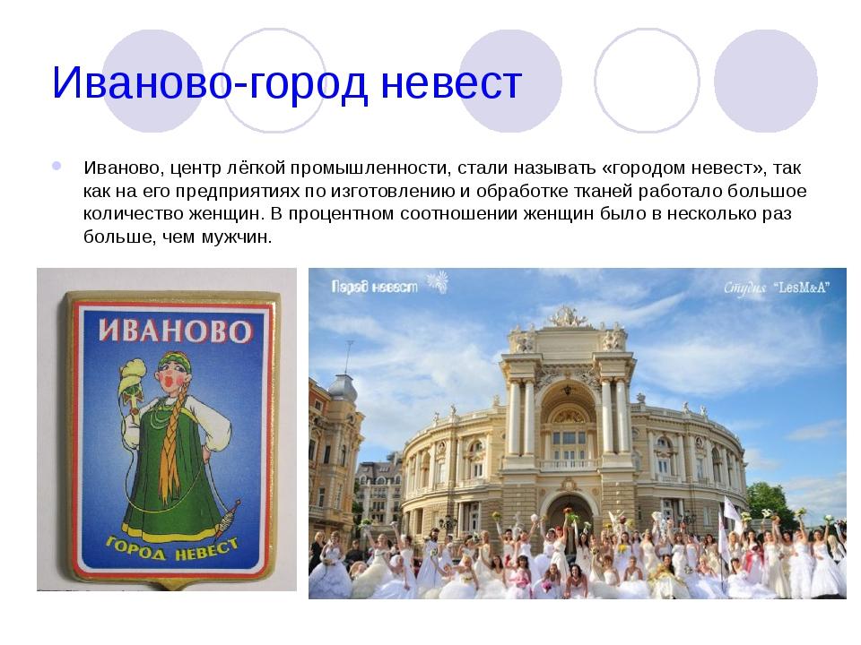 Иваново-город невест Иваново, центр лёгкой промышленности, стали называть «го...