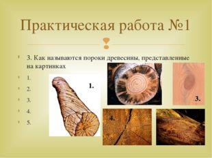 3. Как называются пороки древесины, представленные на картинках 1. 2. 3. 4. 5