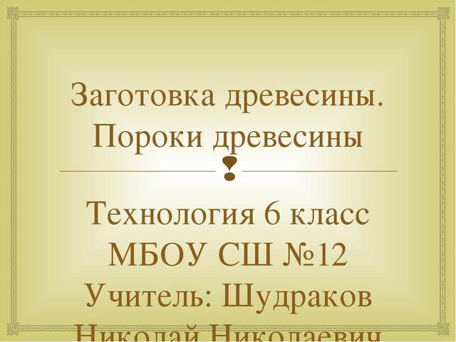 Заготовка древесины. Пороки древесины Технология 6 класс МБОУ СШ №12 Учитель:...