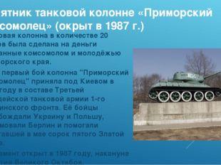 Памятник танковой колонне «Приморский комсомолец» (окрыт в 1987 г.) Танковая