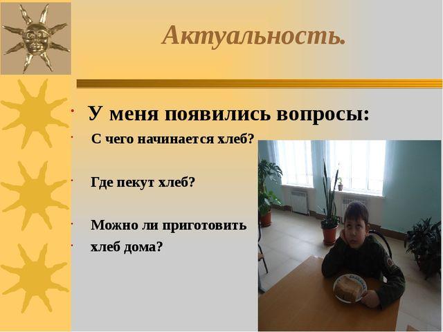 Актуальность. У меня появились вопросы: С чего начинается хлеб? Где пекут хле...