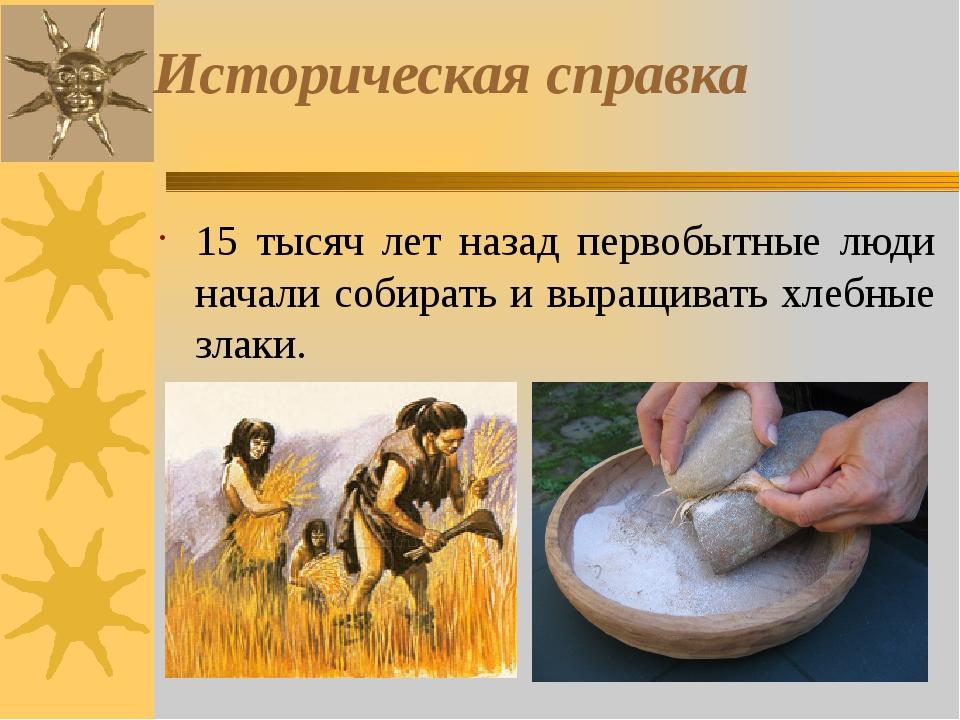 Историческая справка 15 тысяч лет назад первобытные люди начали собирать и вы...