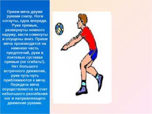 Прием мяча двумя руками снизу. Ноги согнуты, одна впереди. Руки прямые, разве