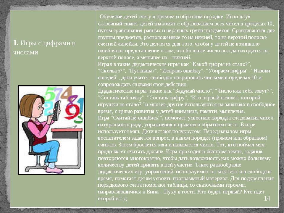 1.Игры с цифрами и числами Обучение детей счету в прямом и обратном порядке....