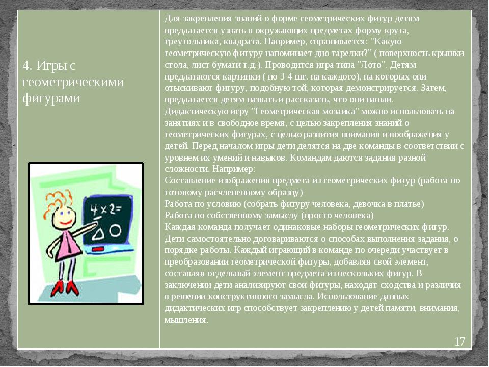 4. Игры с геометрическими фигурами Для закрепления знаний о форме геометриче...