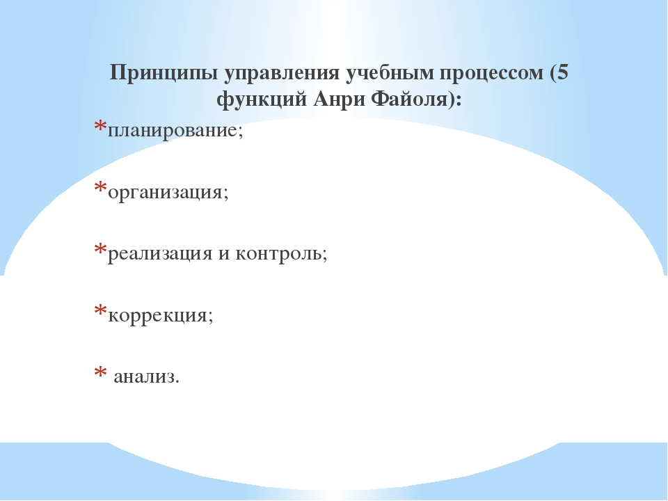 Принципы управления учебным процессом (5 функций Анри Файоля): планирование;...
