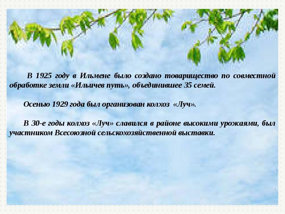 В 1925 году в Ильмене было создано товарищество по совместной обработке земл...