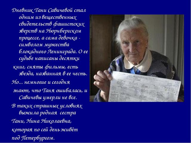 Дневник Тани Савичевой стал одним из вещественных свидетельств фашистских зве...