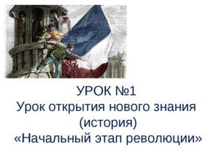УРОК №1 Урок открытия нового знания (история) «Начальный этап революции»