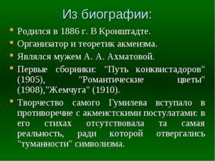 Из биографии: Родился в 1886 г. В Кронштадте. Организатор и теоретик акмеизма