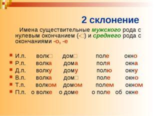 2 склонение Имена существительные мужского рода с нулевым окончанием (-□) и с