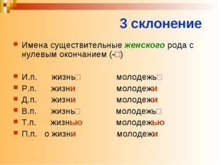 3 склонение Имена существительные женского рода с нулевым окончанием (-□) И.п