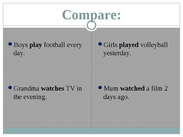 Compare: Boys play football every day. Grandma watches TV in the evening. Gir...