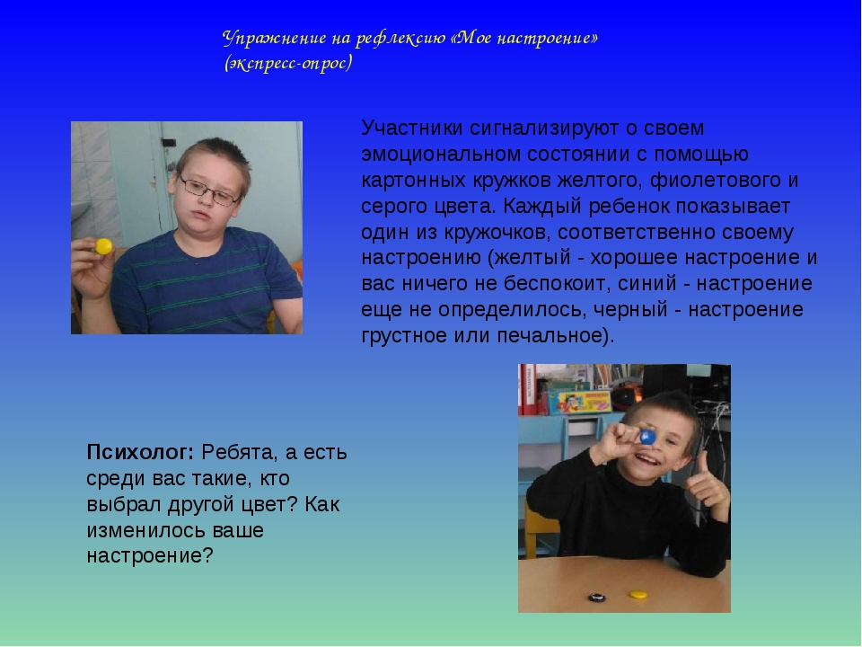 Упражнение на рефлексию «Мое настроение» (экспресс-опрос) Участники сигнализи...