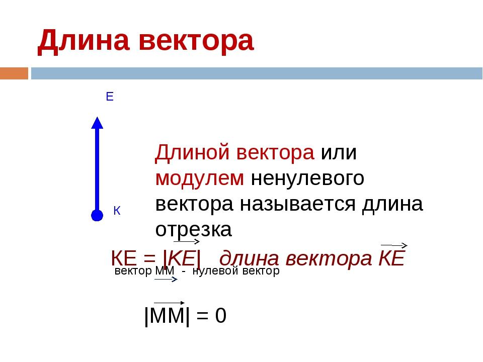 Длина вектора вектор ММ - нулевой вектор Длиной вектора или модулем ненулевог...