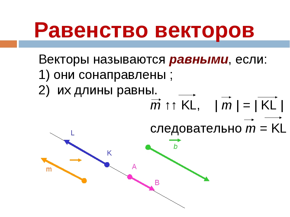 Равенство векторов Векторы называются равными, если: 1) они сонаправлены ; 2)...