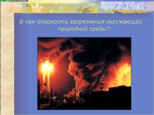 В чем опасность загрязнения окружающей природной среды?
