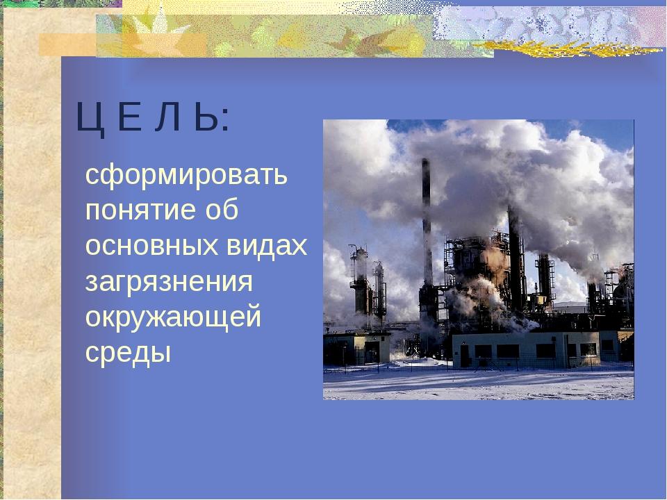 Ц Е Л Ь: сформировать понятие об основных видах загрязнения окружающей среды