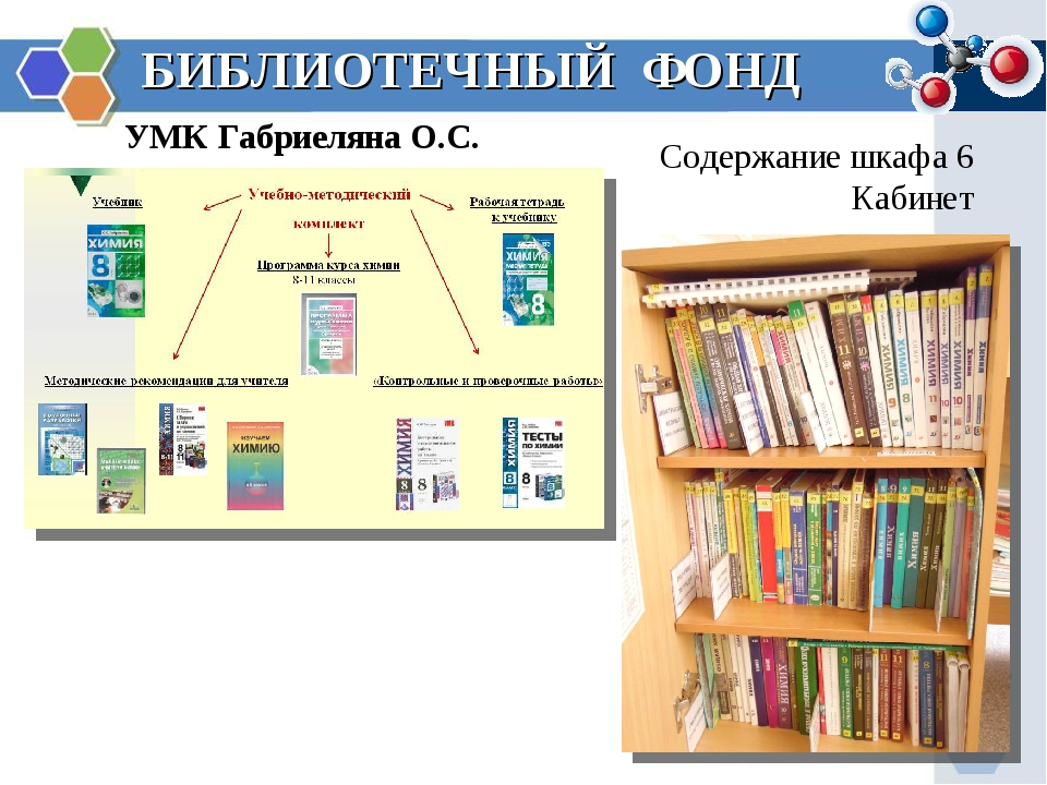 БИБЛИОТЕЧНЫЙ ФОНД УМК Габриеляна О.С. Содержание шкафа 6 Кабинет