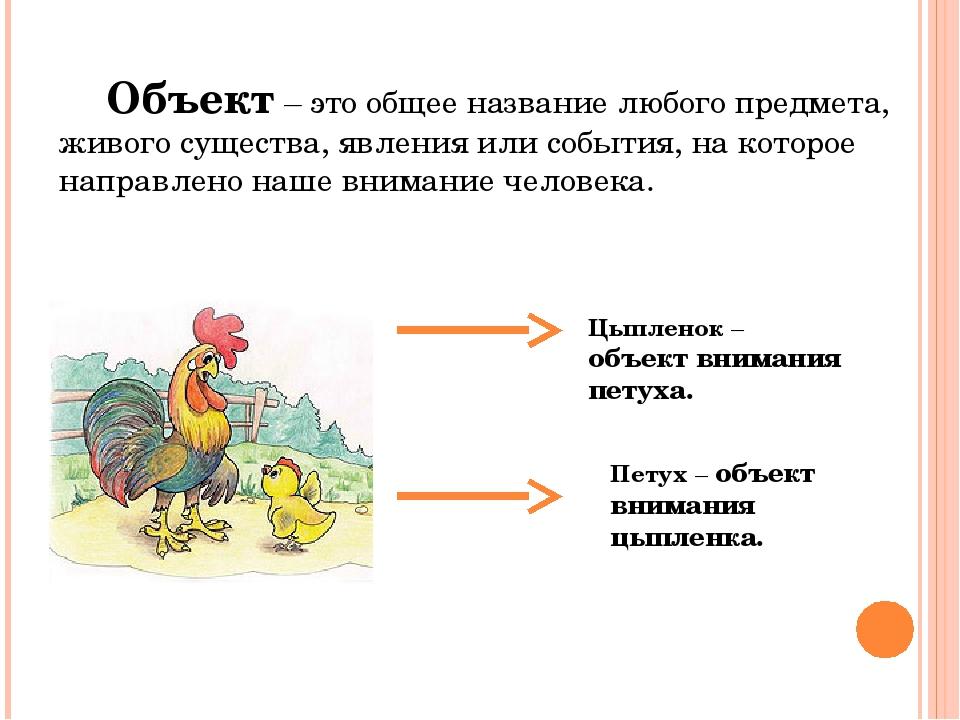 Объект – это общее название любого предмета, живого существа, явления или соб...
