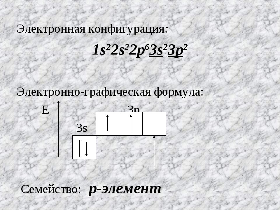 Электронная конфигурация: 1s22s22p63s23p2 Электронно-графическая формула: Е 3...