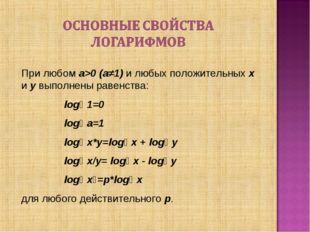 При любом a>0 (a≠1) и любых положительных x и y выполнены равенства:  logₐ 1
