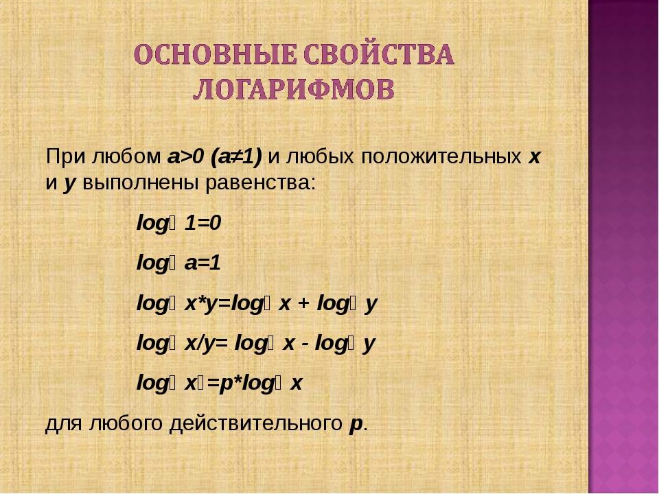 При любом a>0 (a≠1) и любых положительных x и y выполнены равенства:  logₐ 1...