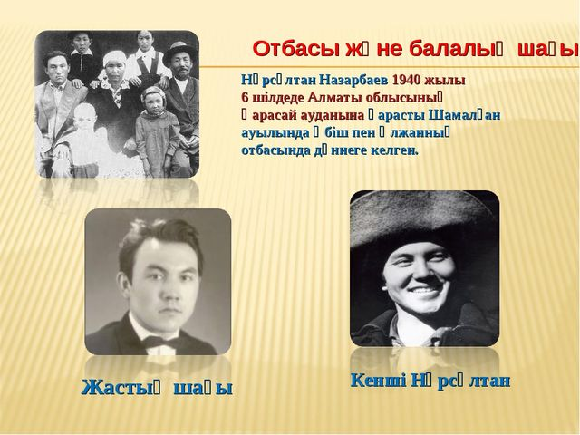 Отбасы және балалық шағы Нұрсұлтан Назарбаев 1940 жылы 6 шілдеде Алматы облы...