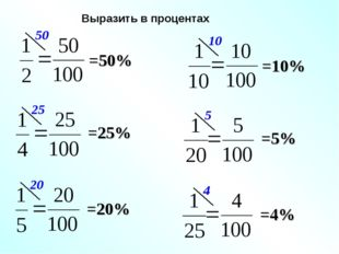 Выразить в процентах =50% =25% =20% =10% =5% =4%