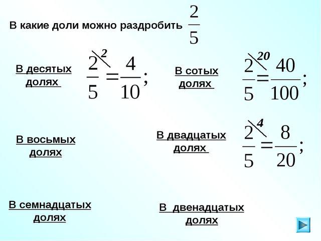В какие доли можно раздробить В десятых долях В семнадцатых долях В сотых дол...