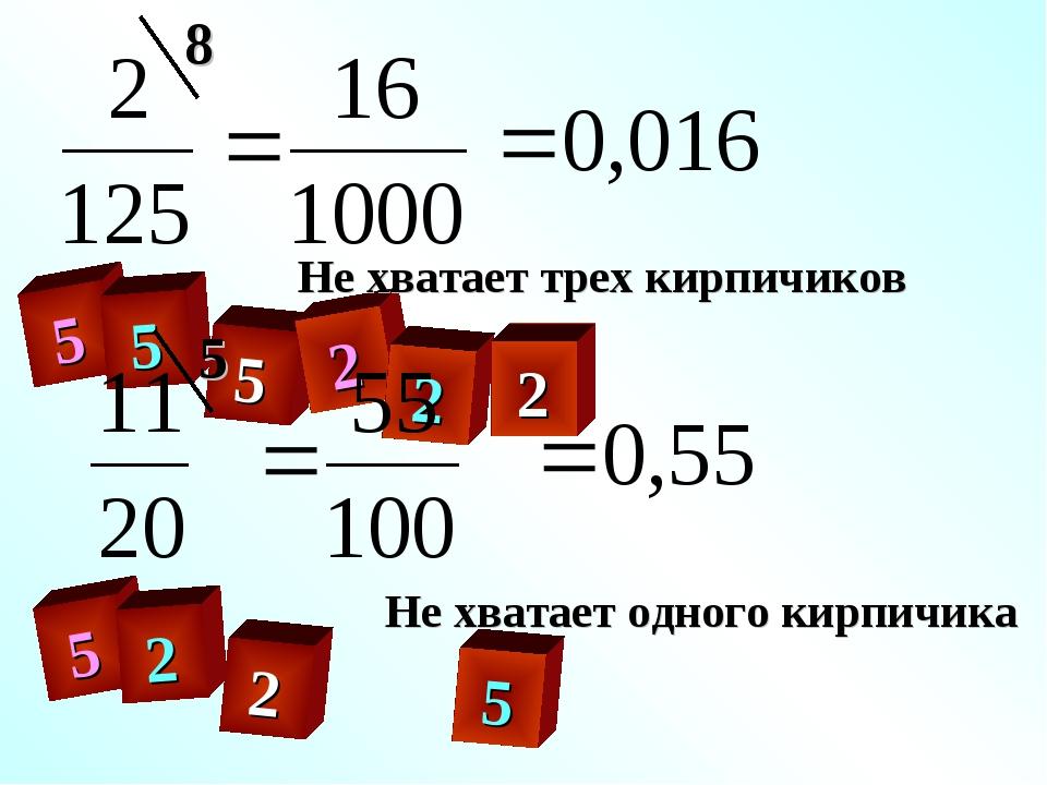 5 5 5 2 2 2 2 5 2 5 Не хватает трех кирпичиков Не хватает одного кирпичика