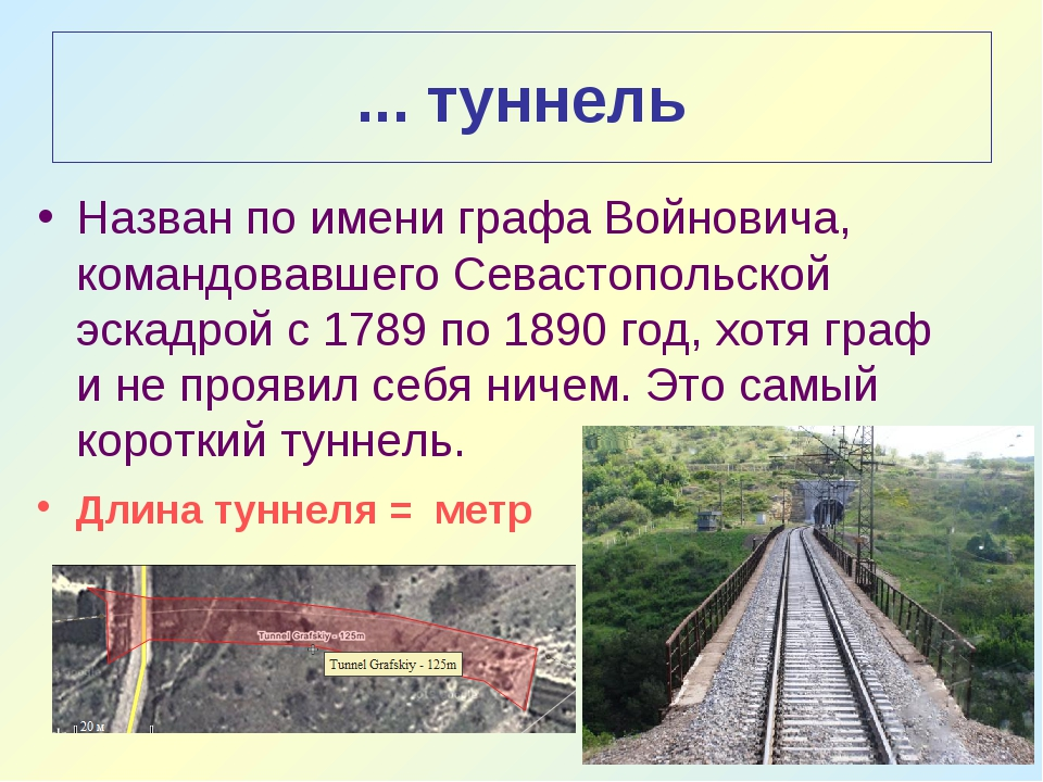 ... туннель Назван по имени графа Войновича, командовавшего Севастопольской э...