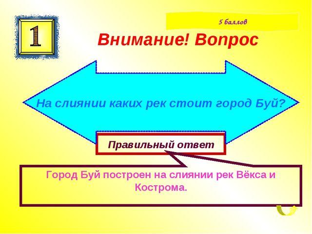 Правильный ответ Город Буй построен на слиянии рек Вёкса и Кострома. Внимание...