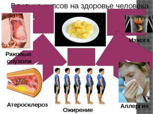 Влияние чипсов на здоровье человека Атеросклероз Ожирение Аллергия Раковые оп