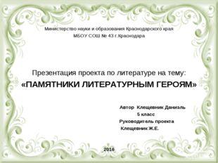 Министерство науки и образования Краснодарского края МБОУ СОШ № 43 г.Краснод