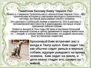 Памятник Белому Биму Черное Ухо Повесть Гавриила Троепольского «Белый Бим Чер