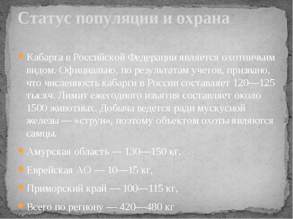 Кабарга в Российской Федерации является охотничьим видом. Официально, по резу...