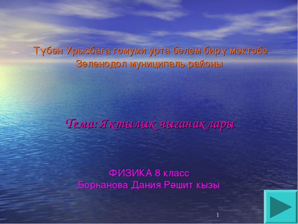 Түбән Урысбага гомуми урта белем бирү мәктәбе Зеленодол муниципаль районы Те...